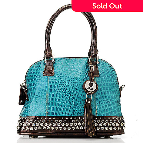 713-371 - Madi Claire Croco Embossed Leather Rhinestone & Stud Embellished Dome Satchel