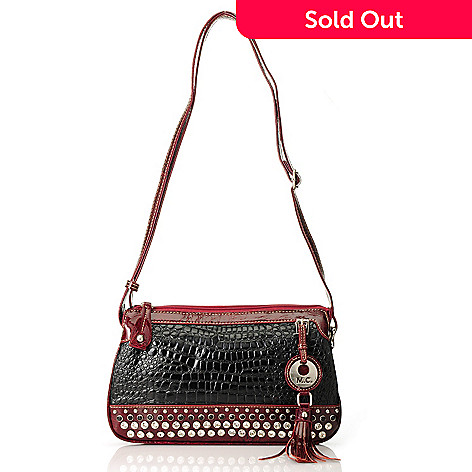 713-373 - Madi Claire ''Bridget'' Embossed Leather Embellished Multi Compartment Cross Body Bag