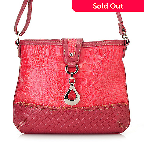 713-375 - Madi Claire Croco & Woven Embossed Leather Cross Body Bag