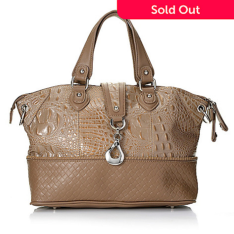 713-376 - Madi Claire ''Gloria'' Croco & Woven Embossed Leather Double Handle Satchel w/ Strap