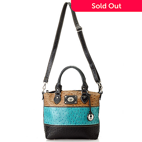 713-378 - Madi Claire Embossed Leather Tri Color Zip Top Double Handle Satchel w/ Strap