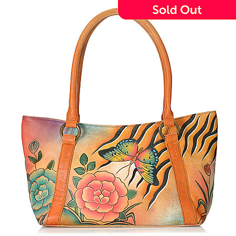 713-387 - Anuschka Hand-Painted Leather Medium Tote Bag w/ Credit Card Wallet