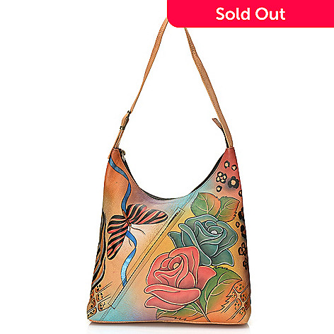 713-389 - Anuschka Hand-Painted Leather Diagonal Zip Pocket Hobo Handbag
