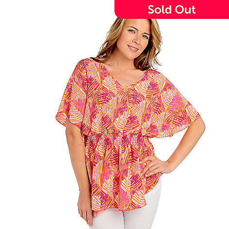 713-394 - Kate & Mallory Printed Crepe Dolman Sleeved V-BackTop