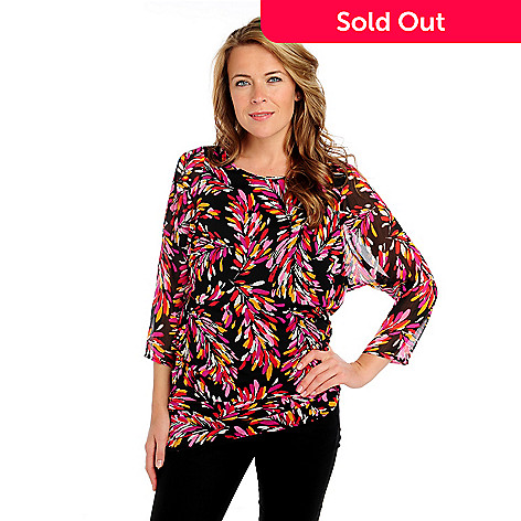 713-396 - Kate & Mallory® Printed Yoryu Dolman Sleeved Asymmetrical Hem Side Ruched Tunic
