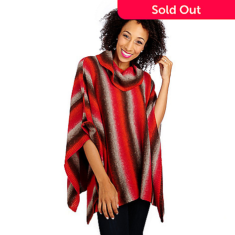 713-406 - OSO Casuals® Ombre Knit Cowl Neck Poncho Sweater