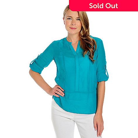 713-408 - Kate & Mallory® Woven Roll Tab Sleeved Notch Neck Tunic