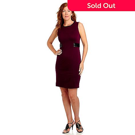 713-460 - Kate & Mallory® Stretch Knit Sleeveless Faux Leather Combo Shift Dress