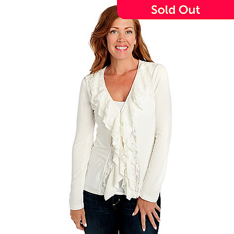 713-461 - Kate & Mallory® Stretch Knit Long Sleeved Lace Ruffle Front Cardigan