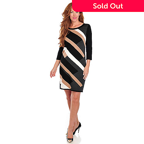 713-465 - Kate & Mallory® Stretch Knit 3/4 Sleeved Diagonal Striped Sweater Dress