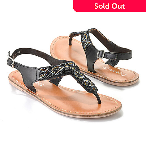 713-493 - Matisse Leather ''Joni'' Beaded Thong Sandals