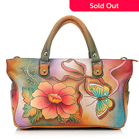 713-495 - Anuschka Hand-Painted Leather Zip Top East-West Satchel w/ Shoulder Strap
