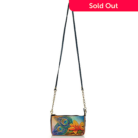 713-497 - Anuschka Hand-Painted Leather Clutch Made w/ Swarovski® Elements
