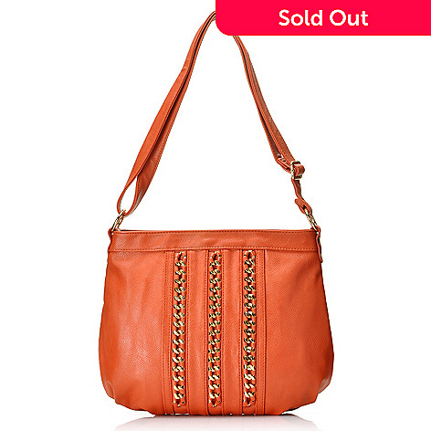 713-506 - LaTique Chain Detailed Zip Top Ruched Cross Body Bag