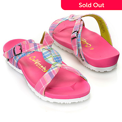 713-560 - California Footwear Plaid Twist Front Ergonomic Slip-on Sandals