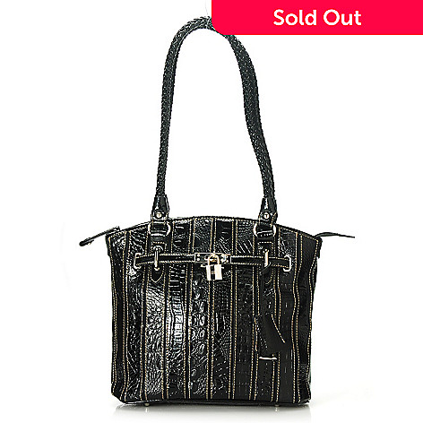 713-567 - Madi Claire Croco Embossed Leather Zip Top Woven Double Handle Tote Bag