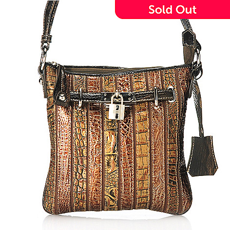 713-569 - Madi Claire Croco Embossed Leather Zip Top Cross Body Bag