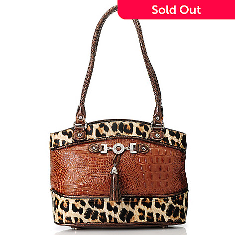 713-572 - Madi Claire Crocodile Embossed & Cheetah Print Double Woven Handle Tote Bag