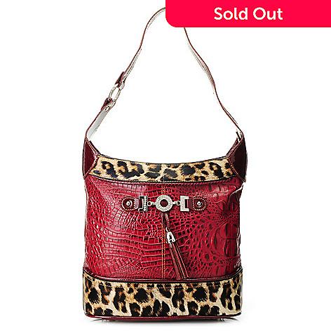 713-573 - Madi Claire Crocodile Embossed & Cheetah Print Tasseled Shoulder Bag