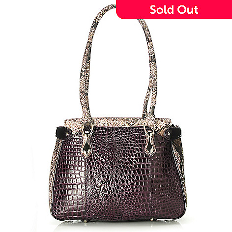 713-577 - Madi Claire Croco Embossed Leather & Snake Print Double Handle Tote Bag