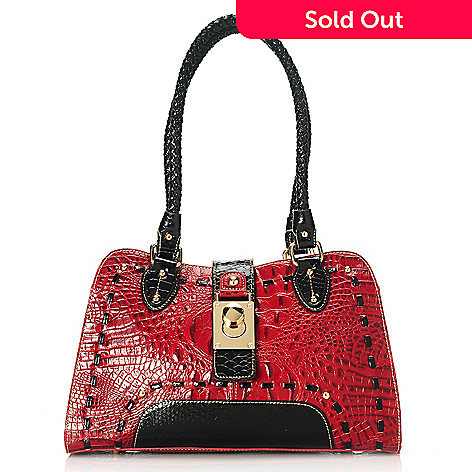 713-581 - Madi Claire Croco Embossed Leather & Snake Print Double Woven Handle Twist Lock Satchel