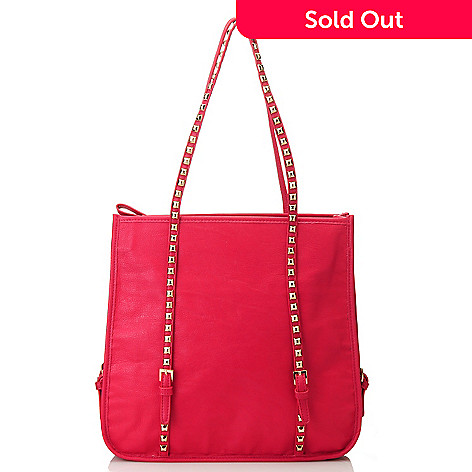 713-586 - Emperia Double Handle Buckle Detailed Studded Tote Bag