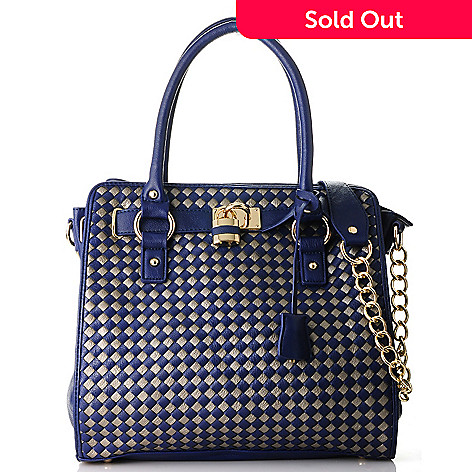713-589 - Emperia Woven Zip Top Chain Detailed Satchel w/ Shoulder Strap