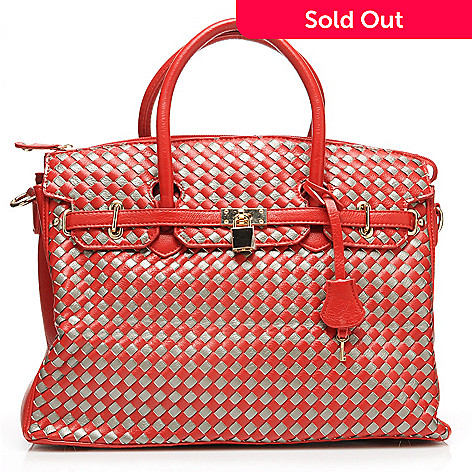 713-590 - Emperia Double Handle Woven Large East-West Satchel w/ Shoulder Strap
