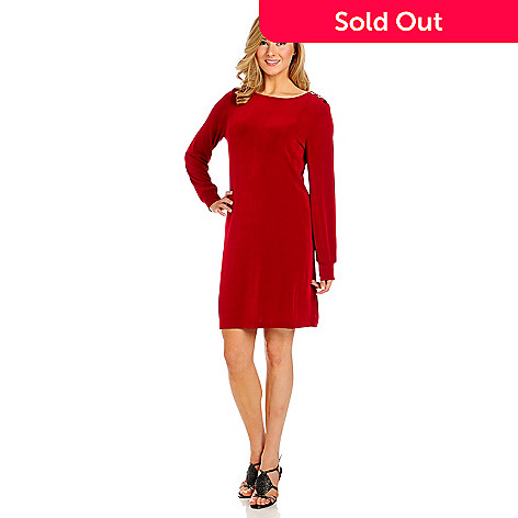 713-611 - Affinity for Knits™ Long Sleeved Button Shoulder Sheath Dress