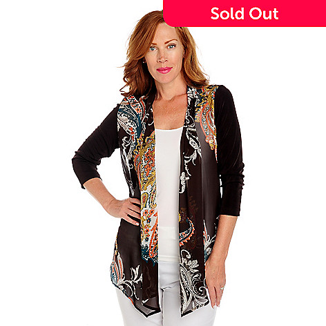713-613 - Affinity for Knits™ 3/4 Sleeved Sheer Print Front Open Cardigan Sweater