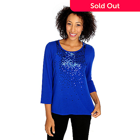 713-626 - Glitterscape® Sweater Knit 3/4 Sleeved Scattered Sequin Shirttail Hem Top