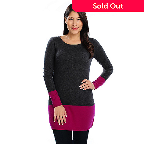 713-638 - Kate & Mallory® Two-Ply 100% Cashmere Color Block Sweater Tunic