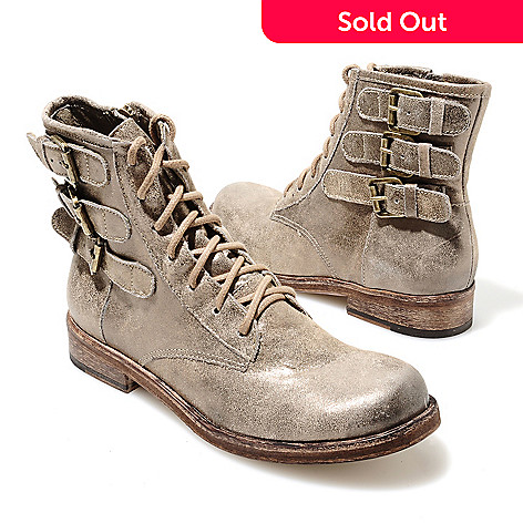 713-727 - Matisse® Leather Buckle Detailed Military-Inspired Short Boots