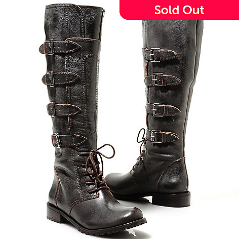 713-730 - Matisse Leather Buckle Detailed Military-Inspired Tall Boots