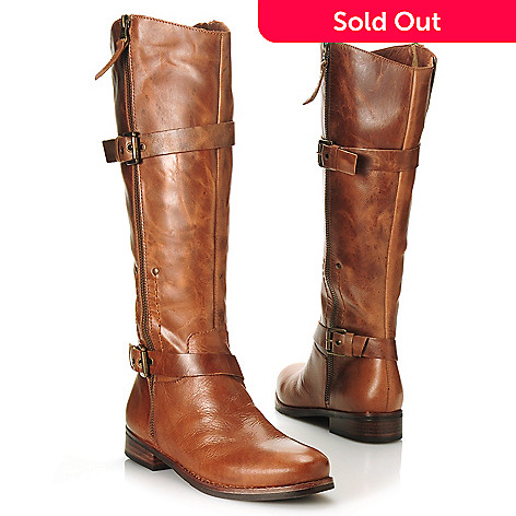 713-731 - Matisse Leather Buckle & Belt Detailed Side Zip Tall Boots