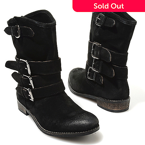 713-734 - Matisse Suede Leather Buckle Detailed Mid-Height Boots