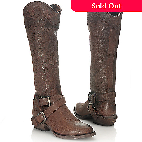 713-739 - Matisse® Leather Crisscross Ankle Strap & Buckle Detailed Tall Boots