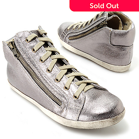 713-746 - Matisse Metallic Lace-up Zipper Detailed Mid-top Sneakers