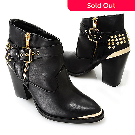 713-747 - Matisse Studded Metal Tipped Buckle Detailed Ankle Boots