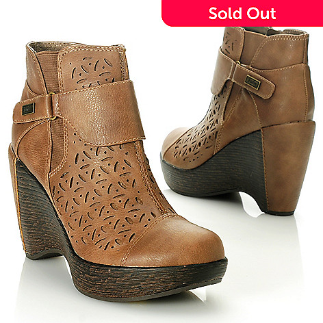 713-770 - Jambu Laser Cut Floral Design Wedge Heel Ankle Boots