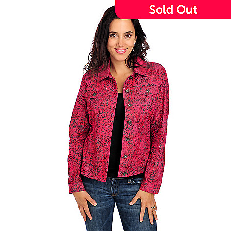 713-782 - Glitterscape® Stretch Twill Long Sleeved Animal Printed Jean Jacket
