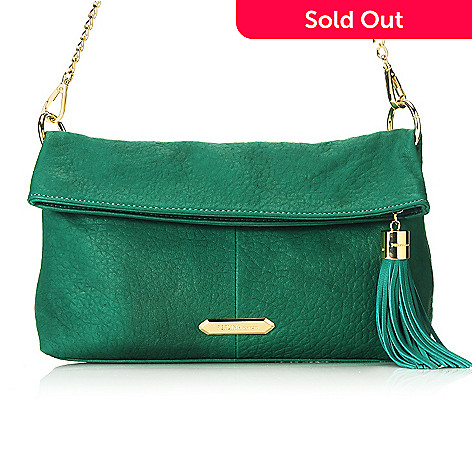 713-786 - Perlina New York Textured Leather Fold-Over Tasseled Clutch w/ Shoulder Strap