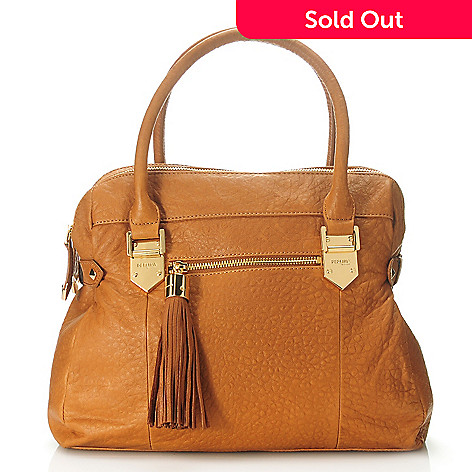 713-787 - Perlina New York Leather Tasseled Double Handle Dual Compartment Satchel w/ Strap