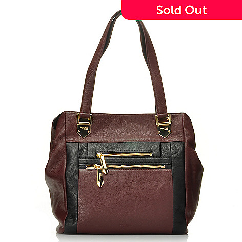 713-788 - Perlina New York Pebbled Leather Color Block Tote Bag