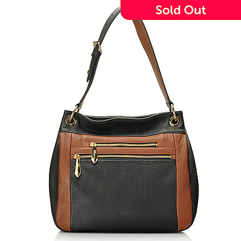 713-789 - Perlina New York Pebbled Leather Color Block Bucket Bag