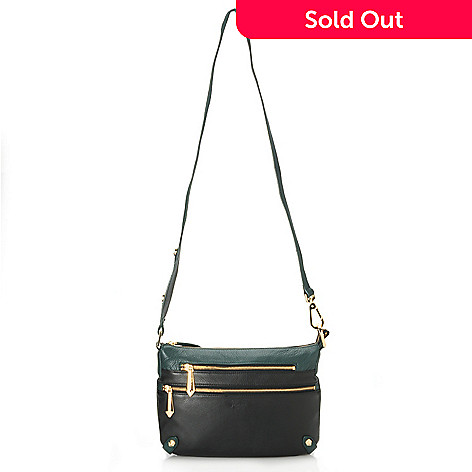 713-790 - Perlina New York Pebbled Leather Color Block Convertible Cross Body Bag