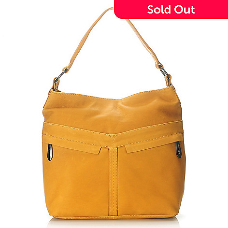 713-791 - Perlina New York Natural Leather Zip Top Bucket Bag