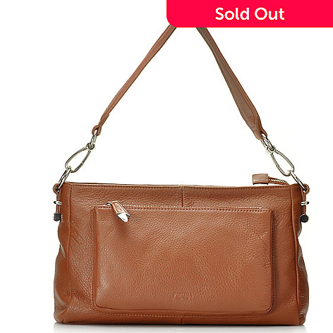 713-795 - Perlina New York Pebbled Leather Zip Top Shoulder Bag