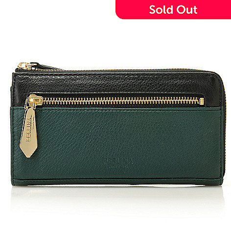 713-796 - Perlina New York Pebbled Leather Color Block Zippered Wallet