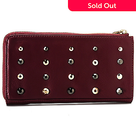 713-800 - Perlina New York Pebbled Leather Two-tone Studded Zip Top Wallet
